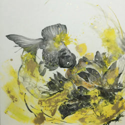 Gold fish & yellow lotus, Journey to the East Art Gallery