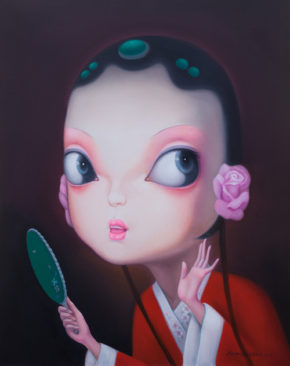 Theater Girl Holds Mirror 500 x 632