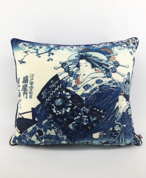 Courtesans Printed in Blue Cushion 2