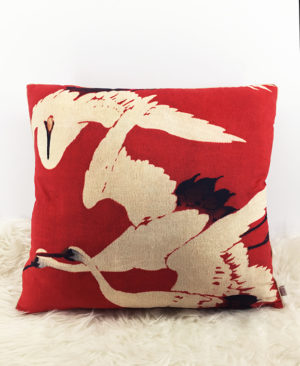 Crane Cushion, Velvet Cushion, Chinoiserie pillow