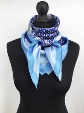 Floral Silk Scarf, Blue Silk Scarf 5