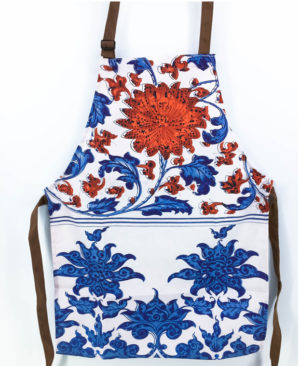Chinoiserie Floral Apron - Red & Blue