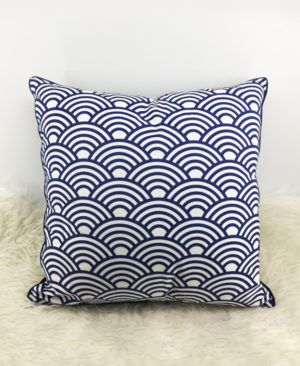 Blue Waves Cushion, Velvet Cushion, Chinoiserie pillow