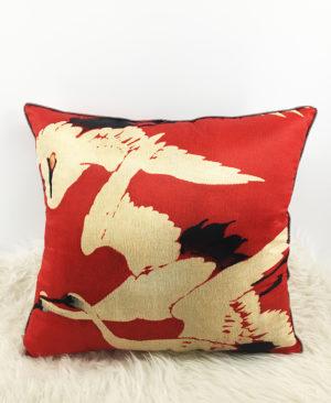 Crane Cushion, Silk cushion, Red cushion 2 copia